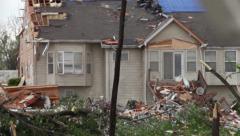 Tornado Damaged House - Roll Focus Stock Footage