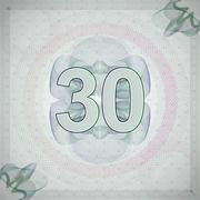 vector illustration of number 30 (thirty) in guilloche ornate style. monetary - stock illustration