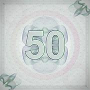 vector illustration of number 50 (fifty) in guilloche ornate style. monetary - stock illustration