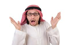 Arab man in specs  isolated on white - stock photo