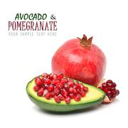 ripe avocado and pomegranate - stock illustration