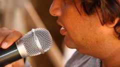 Closeup of Microphone in male hand Stock Footage