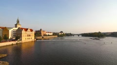 View at the Vitava River in Prague from the Charles Bridge Stock Footage