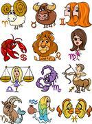horoscope zodiac signs set - stock illustration