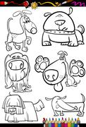 Stock Illustration of cartoon dogs set for coloring book