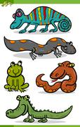 reptiles and amphibians cartoon set - stock illustration