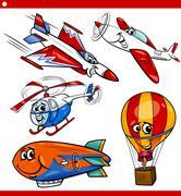 Stock Illustration of funny cartoon aircraft vehicles set