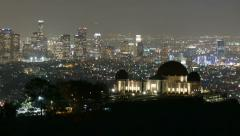 Griffith Park Observatory Dusk to Night with Zoom Stock Footage