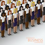 Vector 3d isometric  illustration of women business community. a large group of Stock Illustration