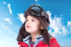 Young boy aviator - stock photo