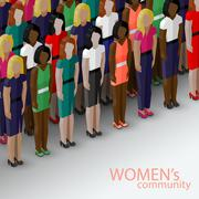 vector 3d isometric  illustration of women community with a large group of girls - stock illustration