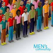 Stock Illustration of vector 3d isometric  illustration of male community with a large group of guys