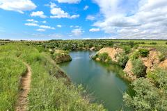 Lake in steppe Stock Photos