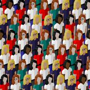 vector seamless pattern with a large group of well- dresses ladies. flat - stock illustration
