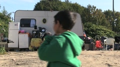 Romani camp. Gypsies in camping cars. Stock Footage