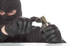 Terrorist with granade - stock photo