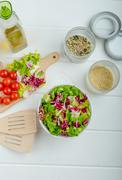 preparation of mixed vegetable salad - stock photo