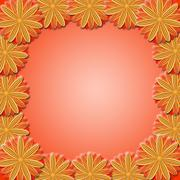 Frame from brown flowers on red background Stock Illustration