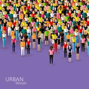 vector flat illustration of society members with a crowd of men and women. - stock illustration