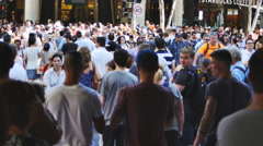 Crowds cross road at G20 in Brisbane 4K Stock Footage