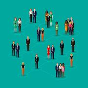 vector flat illustration of society members with  men and women. population. - stock illustration