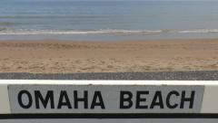 Road sign on Omaha Beach between Vierville and St Laurent, Normandy, France. Stock Footage