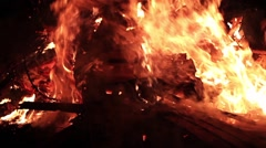 A bonfire at night. The flames move in slow motion. Stock Footage