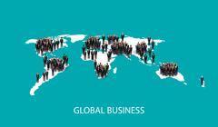vector flat illustration of business people standing on the world global map - stock illustration