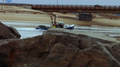 Fishing Boat at the Beach During The Winter Stock Footage
