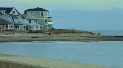 Houses at the Beach During The Winter Stock Footage