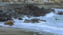 Coastal Rocks at the Beach During The Winter Stock Footage
