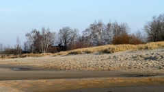 Lighthouse Sand beach in Baltic sea , Riga Latvia Stock Footage