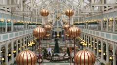 "Shopping mall in Dublin. ""Stephen's Green"". Christmas sale at the mall. Stock Footage"