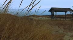 Picnic Area at the Beach During The Winter Stock Footage