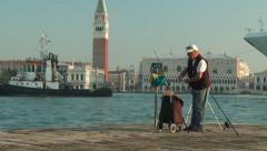 Enormous ship passes through Venice Stock Footage
