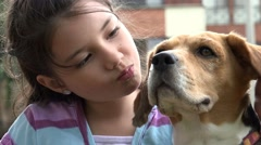 Girl, Child, Kid, Dog, Puppy Stock Footage