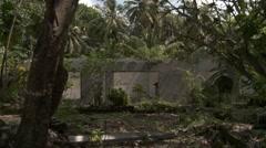 House ruins on abandoned Maldives island Stock Footage