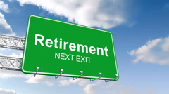 Retirement next exit sign against blue sky Stock Footage
