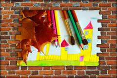 brick wall and view children's drawing of house and leaves - stock illustration