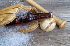 beer in mitt - stock photo