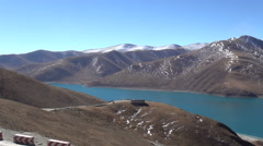 Overhead view of Yamdrok Lake, Tibet, China Stock Footage