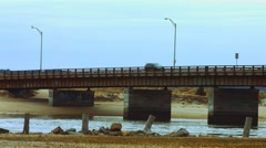 Bridge with Cars at Beach During The Winter Stock Footage