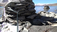 Vertical dolly scene from Yamdrok Lake, Tibet, China Stock Footage
