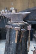 Iron anvil - stock photo