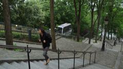 Tourist Man Walks Up Steps Sacre Coeur Montmartre Paris France 4K Stock Video Stock Footage