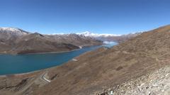 Scene from Yamdrok Lake, Tibet, China Stock Footage