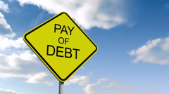 Pay off debt sign against blue sky Stock Footage