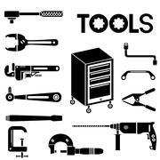 tools, mechanical equipment icons - stock illustration