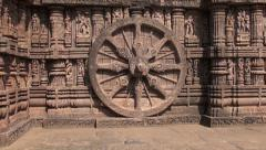Beautiful carvings on stone wheel in  ancient Surya Temple Konark, Odisha, India Stock Footage