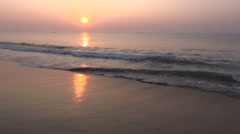beautiful Arabian sea sunrise in south India - stock footage